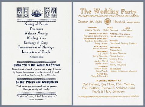 Makeal & Collin\'s Wedding Order | Team Nerd Letterpress