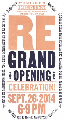 Flyer for East Side Pilates Grand Opening